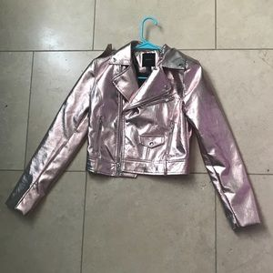 Retro pink shiny face leather jacket.